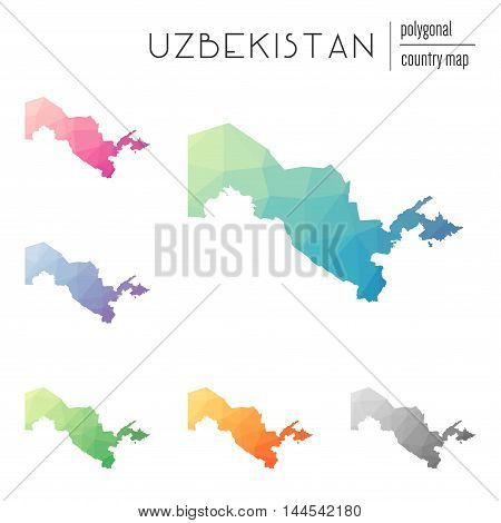 Set Of Vector Polygonal Uzbekistan Maps. Bright Gradient Map Of Country In Low Poly Style. Multicolo