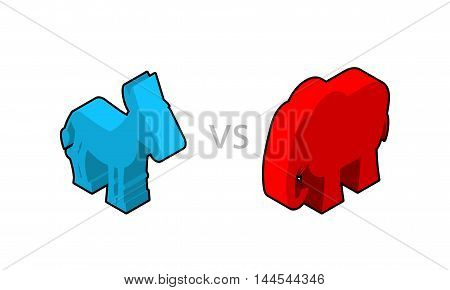 Elephant And Donkey Isometrics. Symbols Of Usa Political Party. American Democrats Against Republica