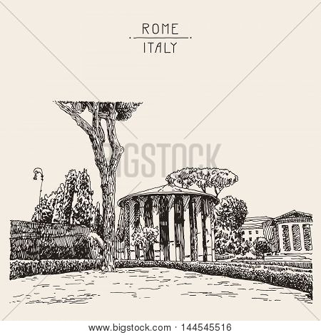sketch hand drawing of Rome Italy famous cityscape, travel card, vector illustration