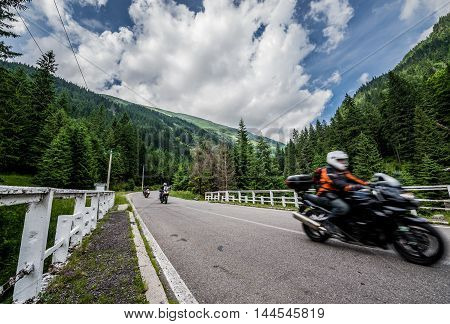 motorcycle on Transfagarasan Road in southern section of Carpathian Mountains in Romania