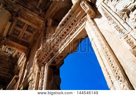 Library of Celsus in Efes stone windows and walls