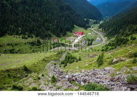 View of Goat Creek Chalet next to Transfagarasan Road in southern section of Carpathian Mountains in Romania