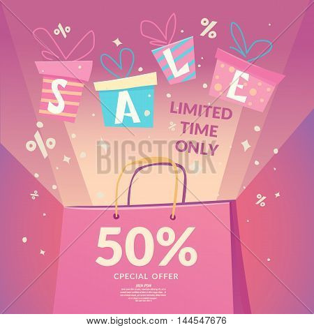 Best offer. Big sale in the store. Illustration in cartoon style for advertising design and web.