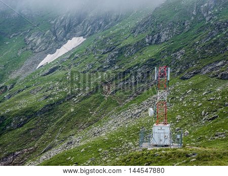 Cellular network station next to Transfagarasan Road in southern section of Carpathian Mountains in Romania
