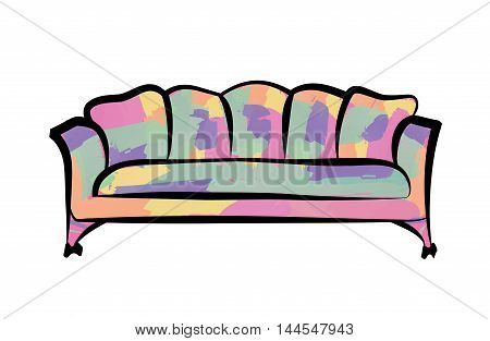Red Luxury Sofa Isolated Over White Background. Furniture Interior Detailed Couch Vector Illustratio