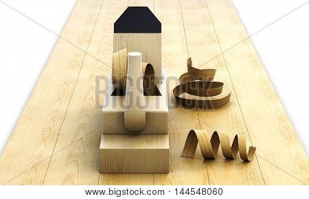 Wooden Plane, Board And Shavings On White Background. 3D Rendering
