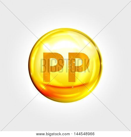 Vitamin PP gold icon. Nicotinamide vitamin drop pill capsule. Shining golden essence droplet. Beauty treatment nutrition skin care design. Vector illustration.