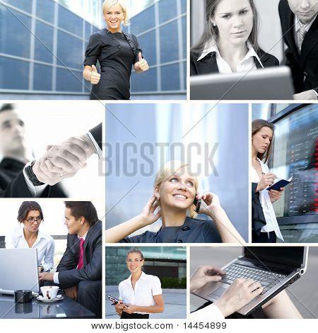 Collage des affaires fait de certaines des images lumineuses