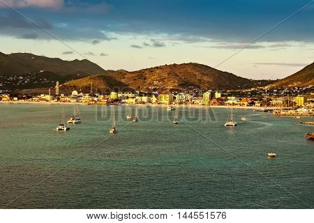Sun setting over the tropical Caribbean island of Philipsburg St. Maarten