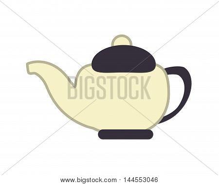 flat design porcelain teapot icon vector illustration