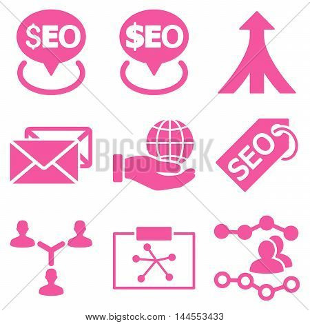Seo vector icons. Pictogram style is pink flat icons with rounded angles on a white background.