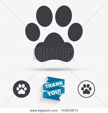 Dog paw sign icon. Pets symbol. Flat icons. Buttons with icons. Thank you ribbon. Vector