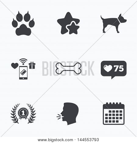 Pets icons. Cat paw with clutches sign. Winner laurel wreath and medal symbol. Pets food. Flat talking head, calendar icons. Stars, like counter icons. Vector