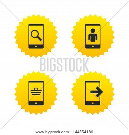 Phone icons. Smartphone video call sign. Search, online shopping symbols. Outcoming call. Yellow stars labels with flat icons. Vector
