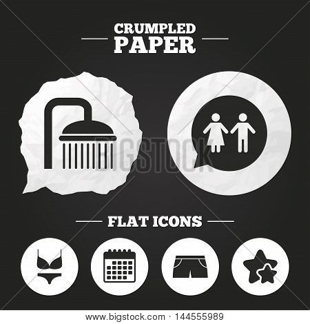 Crumpled paper speech bubble. Swimming pool icons. Shower water drops and swimwear symbols. WC Toilet speech bubble sign. Trunks and women underwear. Paper button. Vector