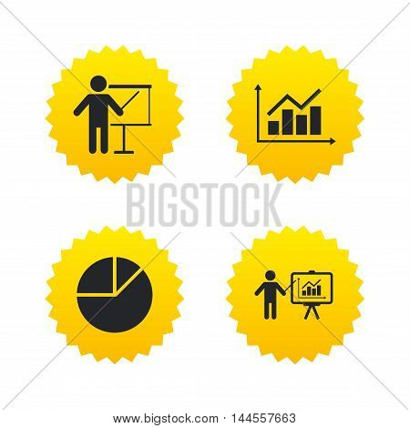 Diagram graph Pie chart icon. Presentation billboard symbol. Supply and demand. Man standing with pointer. Yellow stars labels with flat icons. Vector