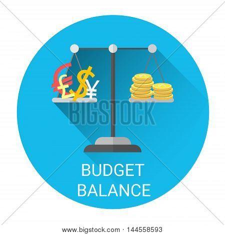 Budget Balance Scale Business Economy Icon Flat Vector Illustration