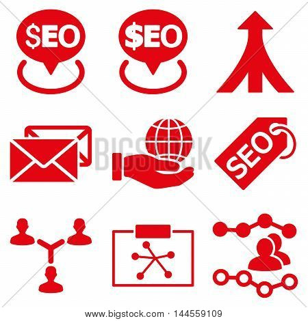 Seo vector icons. Pictogram style is red flat icons with rounded angles on a white background.
