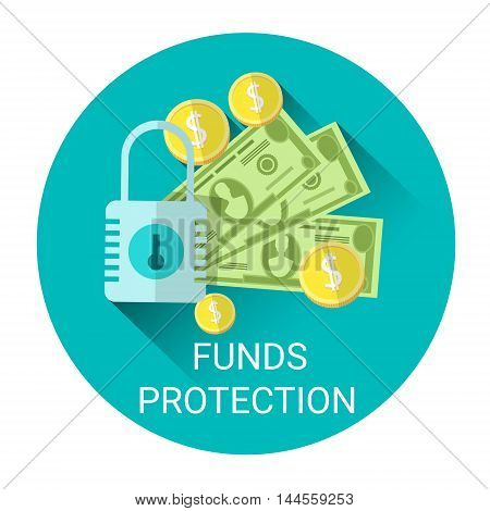 Fund Budget Protection Business Economy Icon Flat Vector Illustration