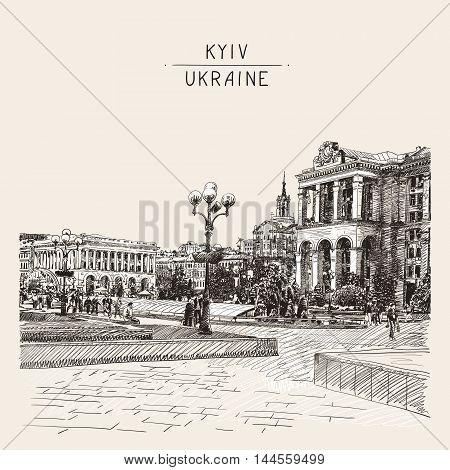 sketch digital drawing of Khreshchatyk the main street of the Ukrainian capital, famous place Maidan Nesalegnosty, sketching for postcard or travel book vector illustration