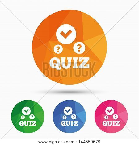 Quiz with check and question marks sign icon. Questions and answers game symbol. Triangular low poly button with flat icon. Vector
