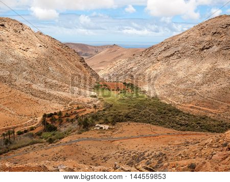 view of a landscape of Fuerteventura from Lookout Risco de las Penas Canary Islands