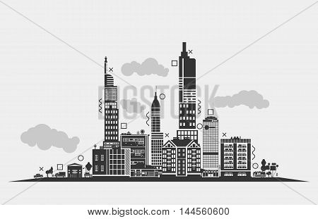 Silhouette for urban area of city. Panorama outline of skyscrapers and clouds, lorry or trucks under lamp and trees, trailer and antennas on roof. Exterior of black residential buildings or houses