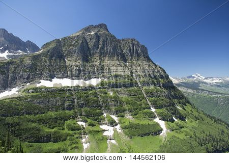View from the Highline Trail in Glacier National Park Montana United States.