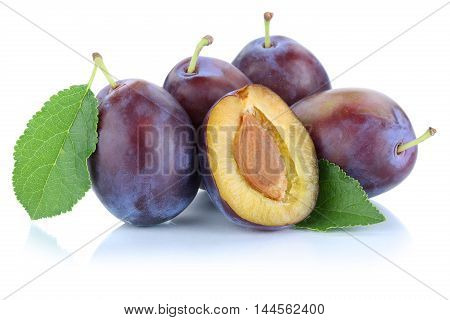 Plums Plum Prunes Prune Slice Leaves Fruits Fruit Isolated On White