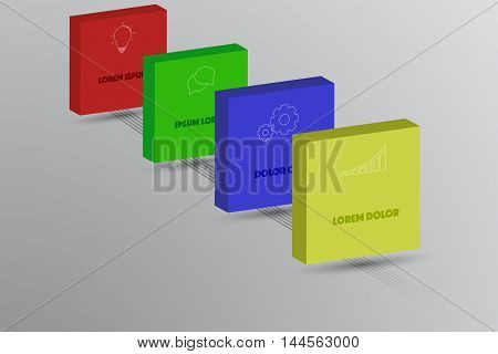 Four steps timeline infographics with 3D squares outline icons and lines on ground. 4 steps business infographic with bulb doodle gear and chart icons on colorful 3D rectangles.