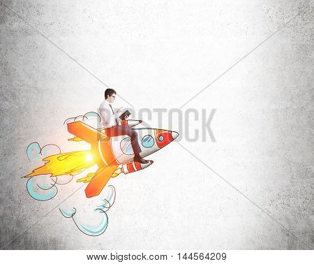 Businessman Riding Rocket