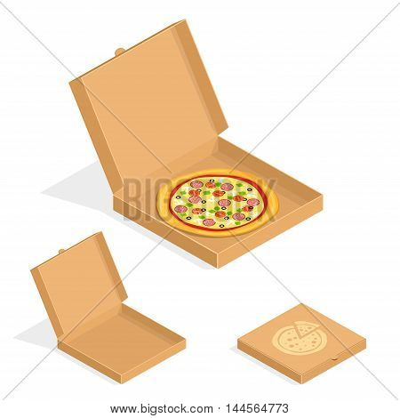Brown carton packaging box with pizza in flat style. Cardboard empty open and close pizza boxes isolated on white background.