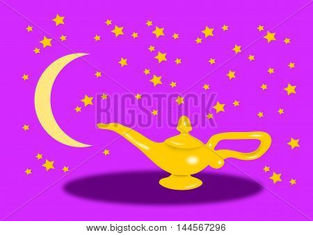 Aladdin lamp against a starry sky with stars and a New moon.