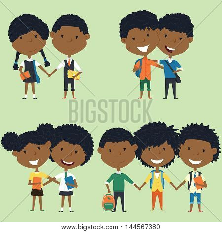 Best friends african american school boys and girls standing together. Joyful classmates hugging. Vector collection of kids characters. Cute pupils set.
