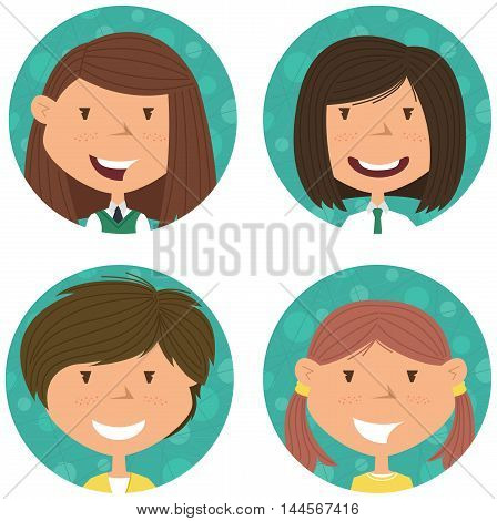 School girls avatar collection. Vector portraits of classmates. Cute student icon set.