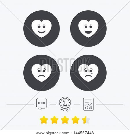 Heart smile face icons. Happy, sad, cry signs. Happy smiley chat symbol. Sadness depression and crying signs. Chat, award medal and report linear icons. Star vote ranking. Vector