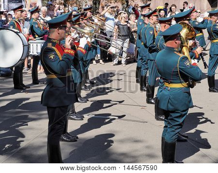 MOSCOW, RUSSIA - August 27, 2016: Rank trombonists in military band of Russia. Festival of military orchestras