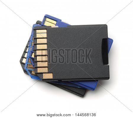 Stack of SD memory cards isolated on white