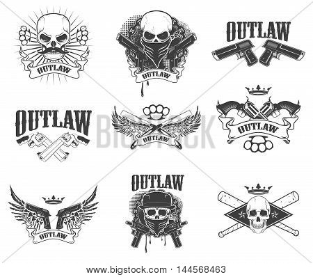 Set of gangsta skulls isolated on white background. outlaw. Wings with weapon. Design element for t-shirt print poster sticker. Vector illustration.