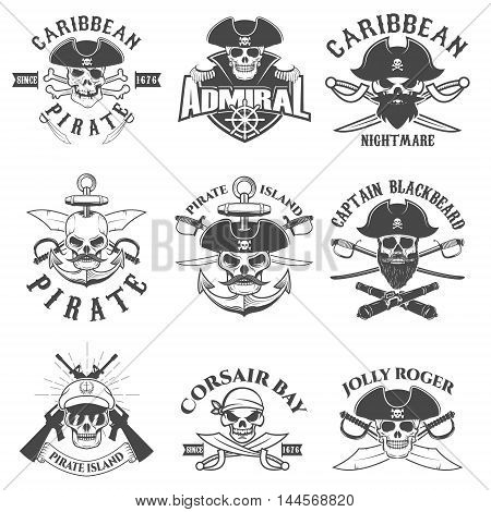 Set of pirates logo labels emblems and design elements. Corsairs. Pirate bay. Vector illustration.