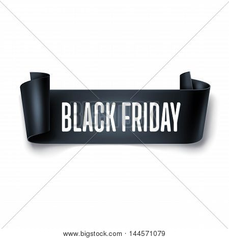 Black Friday Sale Inscription Design Template With Black Detailed Curved Ribbon. Black Friday Banner