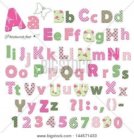 Cute textile font. Patterns included under clipping mask. Letters and numbers.