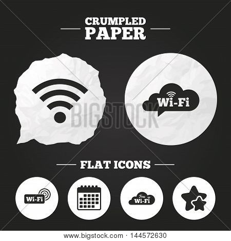 Crumpled paper speech bubble. Free Wifi Wireless Network cloud speech bubble icons. Wi-fi zone sign symbols. Paper button. Vector