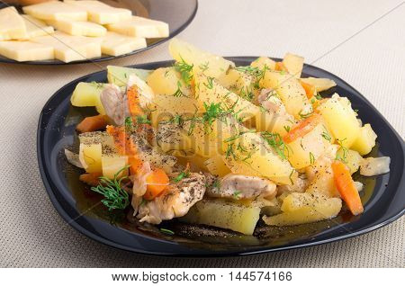 Dish Of Stewed Potatoes With Meat And Spices