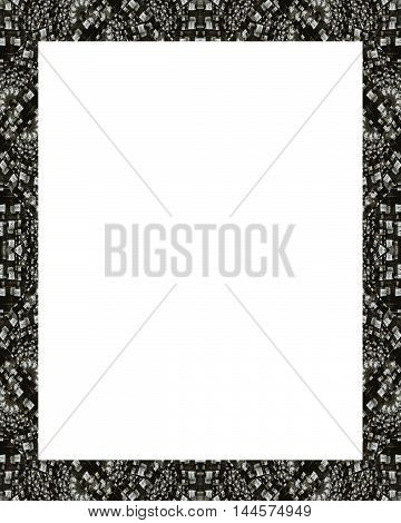 White frame background with decorated black and white mosaic design borders.