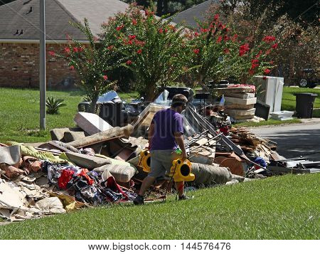 BATON ROUGE - AUGUST 20: Cleaning up after the flood of 2016 in Baton Rouge LA.