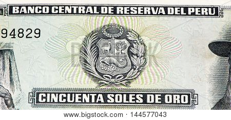 50 soles de oro bank note. Soles de oro is the national currency of Peru