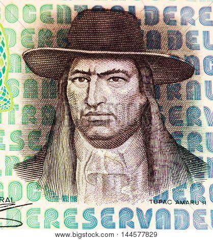 100 soles de oro bank note. Soles de oro is the national currency of Peru