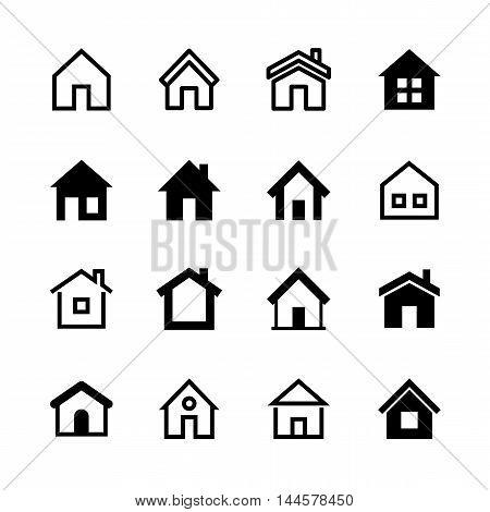 Home icons set, Homepage - website or real estate symbol, vector illustration