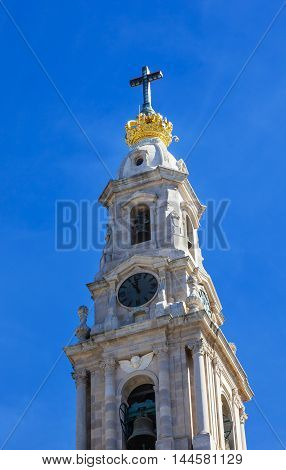 Basilica of Lady of Rosary Bell Tower Fatima Portugal. Church created on site where three Portuguese Shepherd children saw Virgin Mary of the Rosary. Basilica created in 1953.